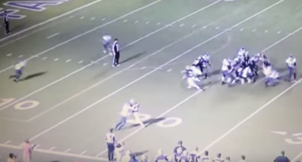 A screen capture of a video posted to YouTube, showing two San Antonio Jay players colliding into an official during Friday's meeting with Marble Falls. Both players were ejected; Marble Falls won the game, 15-9.