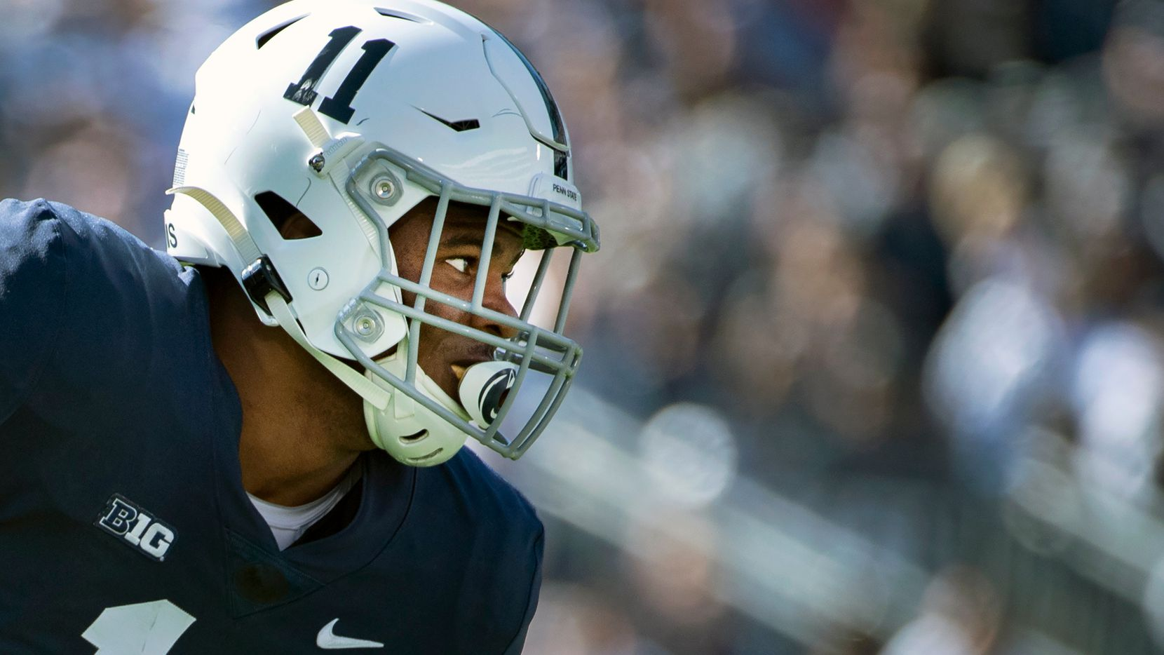 FILE - Penn State linebacker Micah Parsons (11) is shown during an NCAA college football game against Purdue in State College, Pa., in this Saturday, Oct. 5, 2019, file photo. Parsons is a possible first round pick in the NFL Draft, April 29-May 1, 2021, in Cleveland.