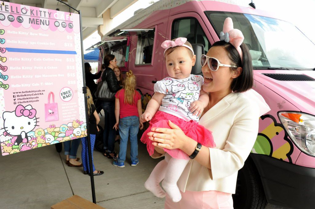 Seven-month-old Texana and her mom Chanel Tennison are excited about their purchases at the Hello Kitty Cafe Truck at The Shops at Willow Bend in Plano, TX on March 12, 2016. (Alexandra Olivia/ Special Contributor)