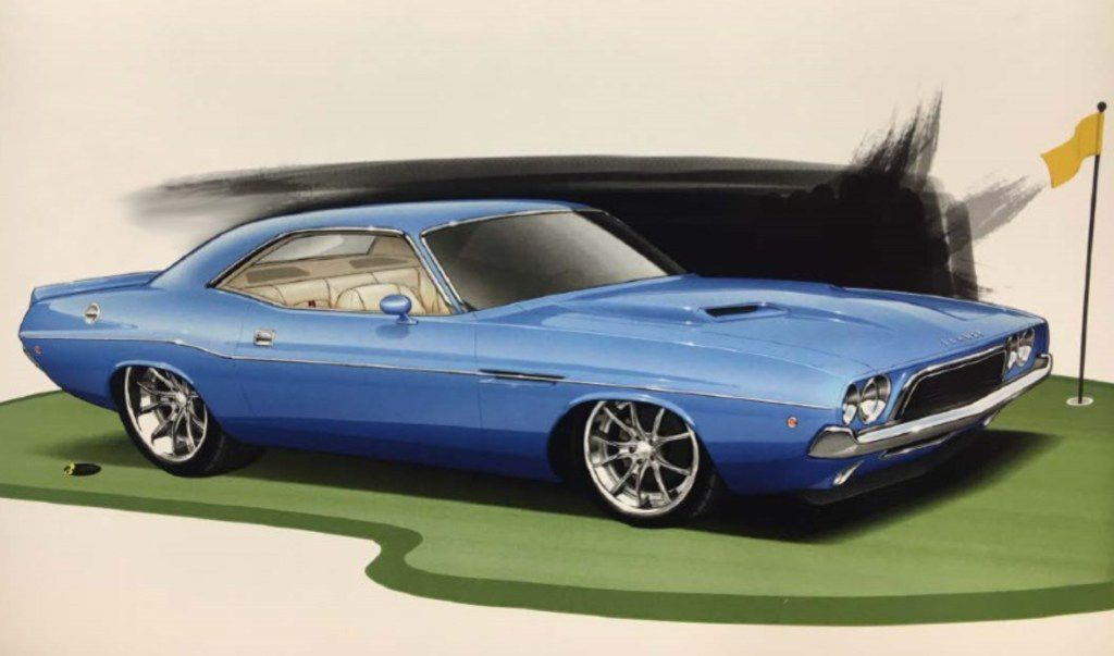 The winner of the 2019 Charles Schwab Challenge at Colonial Country Club in Fort Worth, Texas, will receive a restored, 1973 Dodge Challenger, shown in this artist's rendering.  The car is being restored and will be revealed at Colonial Country Club during the week of the tournament, May 20-26.