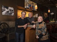 The Nazary family, Beau Nazary, left, Ali Nazary and their mother Nazy Nazary, at their restaurant Cafe Izmir in Dallas