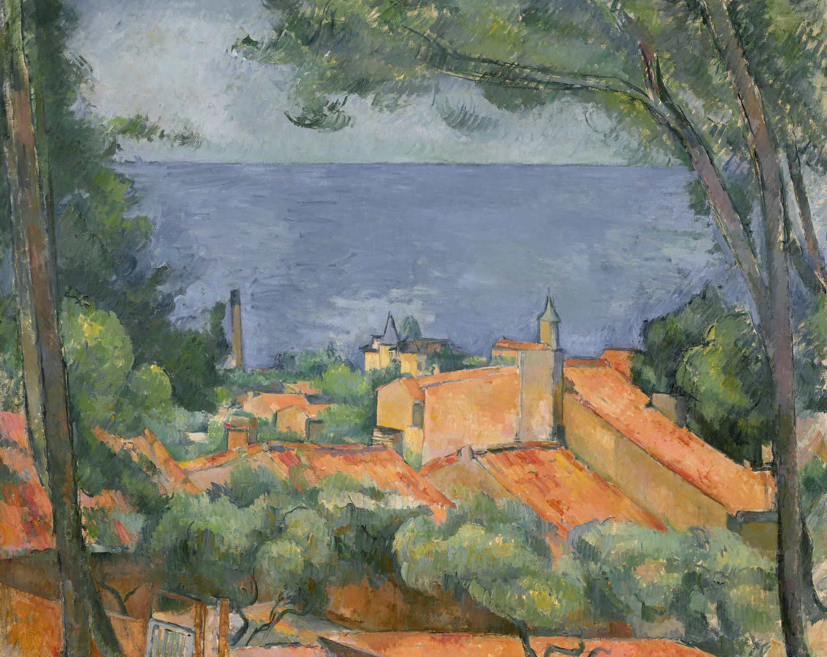 """Christie's estimated that """"L'Estaque Aux Toits Rouges"""" painted by Paul Cézanne could bring in $35 million to $55 million when it comes up for auction in November as part of the collection of the late Edwin """"Ed"""" L. Cox."""