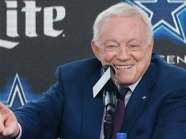 Dallas Cowboys owner Jerry Jones addresses the media at The Star in Frisco, Texas after signing Dak Prescott to a 4-year, $160 million contract with the team, Wednesday, March 10, 2021.