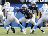 Dallas Cowboys linebacker Micah Parsons (11) plays the end during a fourth quarter play against the Los Angeles Chargers at SoFi Stadium in Inglewood, California, Sunday, September 19, 2021. The Cowboys won, 20-17.