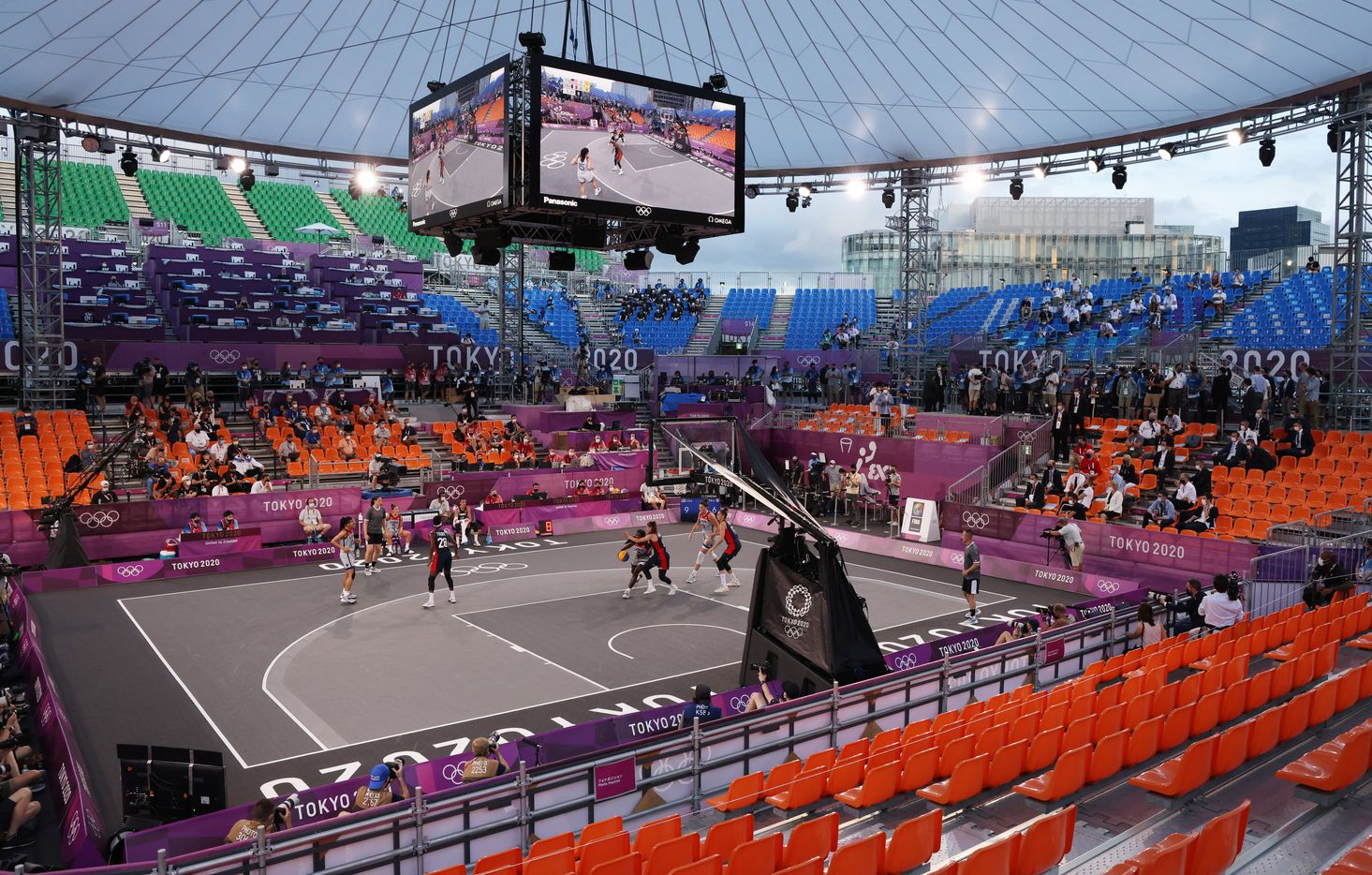 USA plays France in a 3x3 women's basketball game during the postponed 2020 Tokyo Olympics at Aomi Urban Sports Park on Saturday, July 24, 2021, in Tokyo, Japan. USA defeated France 17-10 in the game. (Vernon Bryant/The Dallas Morning News)