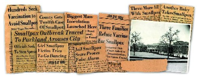 Smallpox  newspaper clippings and Parkland hospital- year unknown