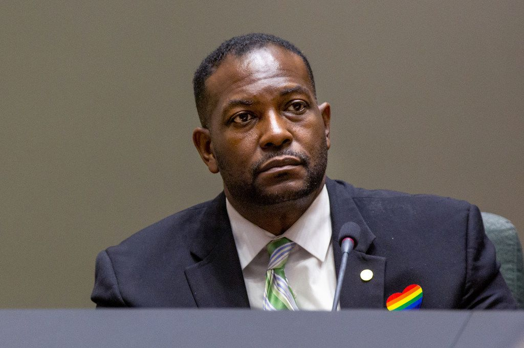 Dallas City Council member Casey Thomas, II, at a council meeting at Dallas City Hall in Dallas on June 26. Thomas says he unintentionally left tickets given to him by VisitDallas off financial disclosure forms.