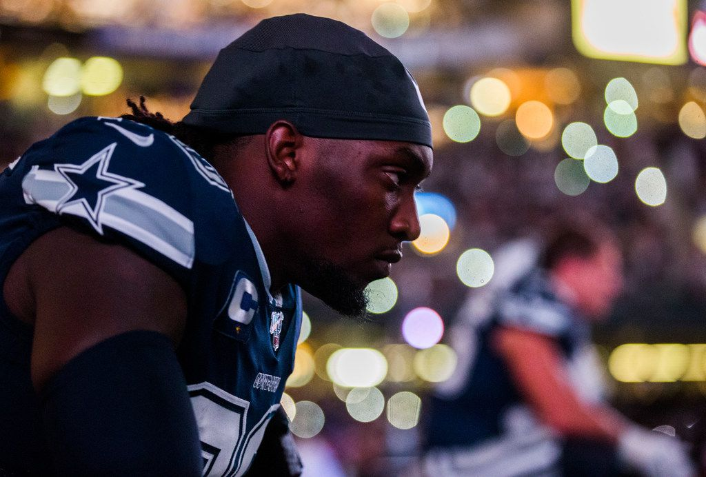 Dallas Cowboys defensive end Demarcus Lawrence (90) sits on the bench before an NFL game between the Dallas Cowboys and the News Orleans Saints on Sunday, September 29, 2019 at Mercedes-Benz Superdome in New Orleans, Louisiana.