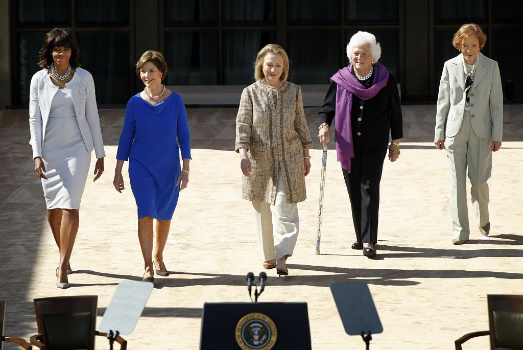 The five first ladies (from left) Michelle Obama, Laura Bush, Hillary Clinton, Barbara Bush, and Rosalynn Carter were introduced at the George W. Bush Presidential Center dedication April 25, 2013.