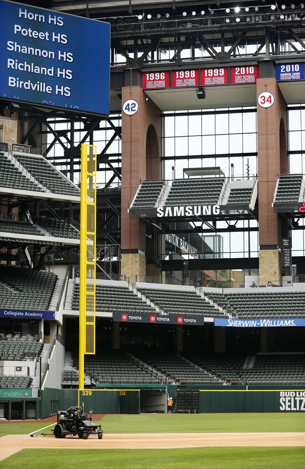 The newly completed Globe Life Field in Arlington, Texas, is getting ready to host several high school graduations, Wednesday, May 20 2020. (Tom Fox/The Dallas Morning News)
