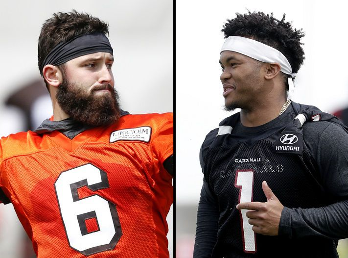 Left: Cleveland Browns' Baker Mayfield  / Right: Arizona Cardinals' Kyler Murray