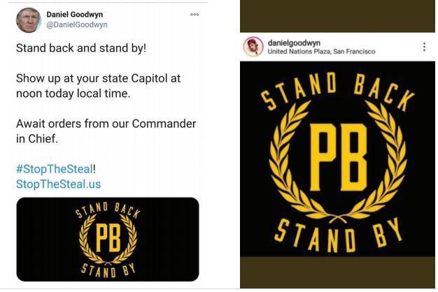 Daniel Goodwyn claimed to be a member of the Proud Boys on social media, the FBI says.