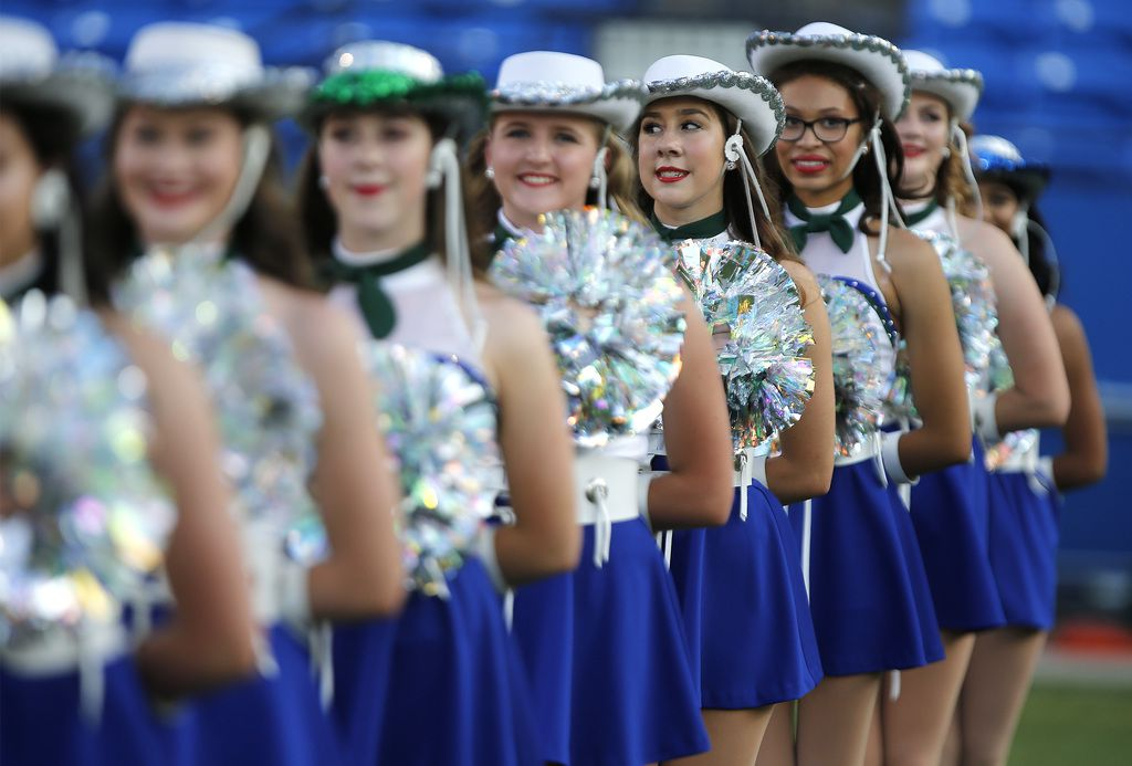 The Sapphires drill team stands at attention for Reedy High School as they hosted Plano West High School in a non-district football game at Toyota Stadium in Frisco on Thursday, August 28, 2019. (Stewart F. House/Special Contributor)