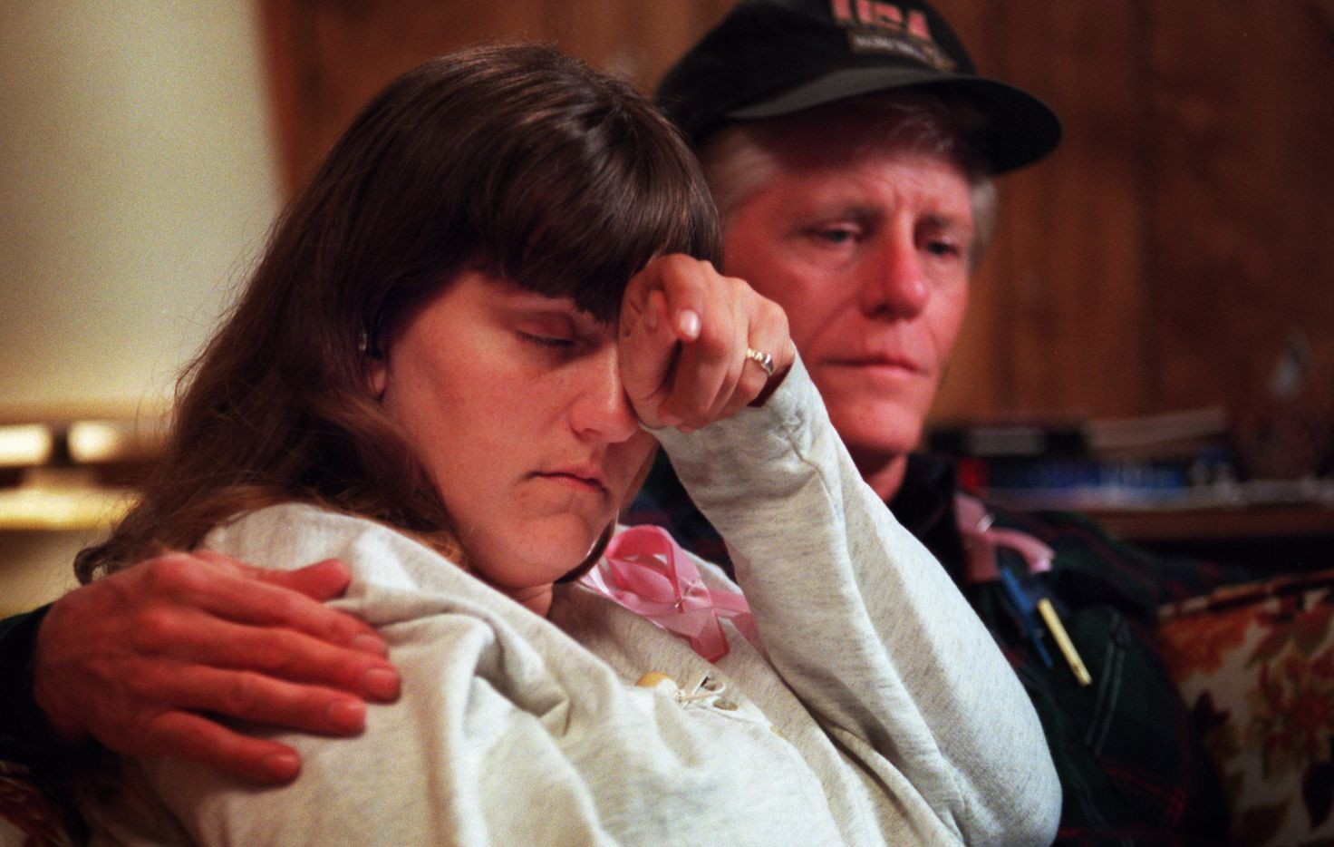 Amber Hagerman's parents, Donna  Whitson and Richard E. Hagerman, listen to a summary of Amber's  abduction while waiting to be interviewed for the television  program 'Day and Date' from New York on Jan. 16, 1996.