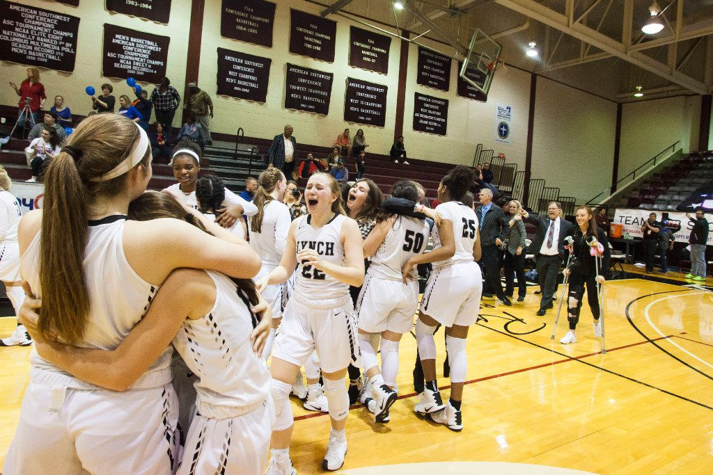 The Bishop Lynch Lady Friars celebrate their victory over Parish Episcopal in the TAPPS 6A state championship game held at Kimbrell Arena on the campus of McMurry University  in Abilene on Saturday, Feb. 25, 2017.