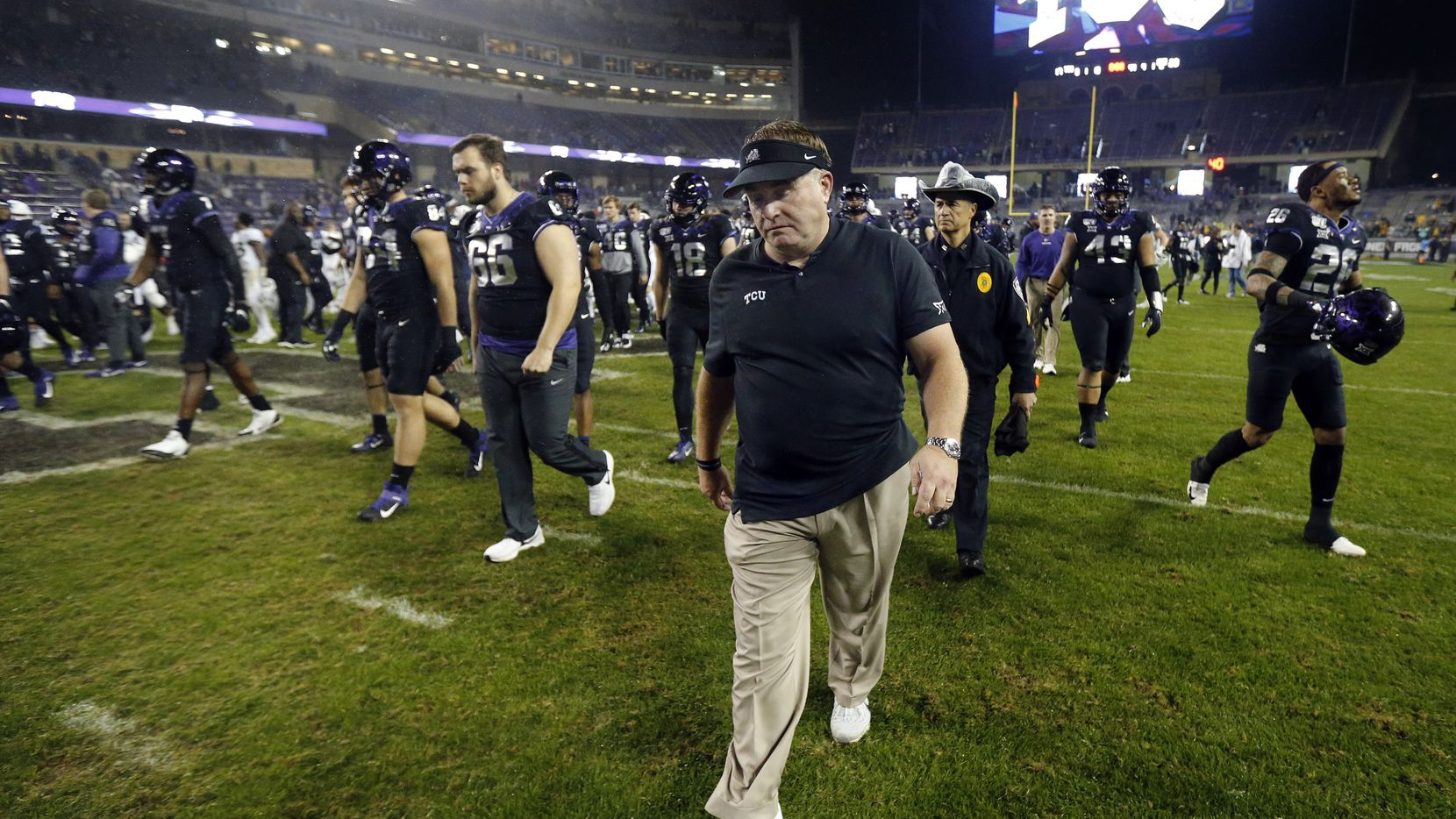 TCU Horned Frogs head coach Gary Patterson walks off the field after losing to the West Virginia Mountaineers at Amon G. Carter Stadium in Fort Worth, Friday, November 29, 2019. The Horned Frogs lost, 20-17.