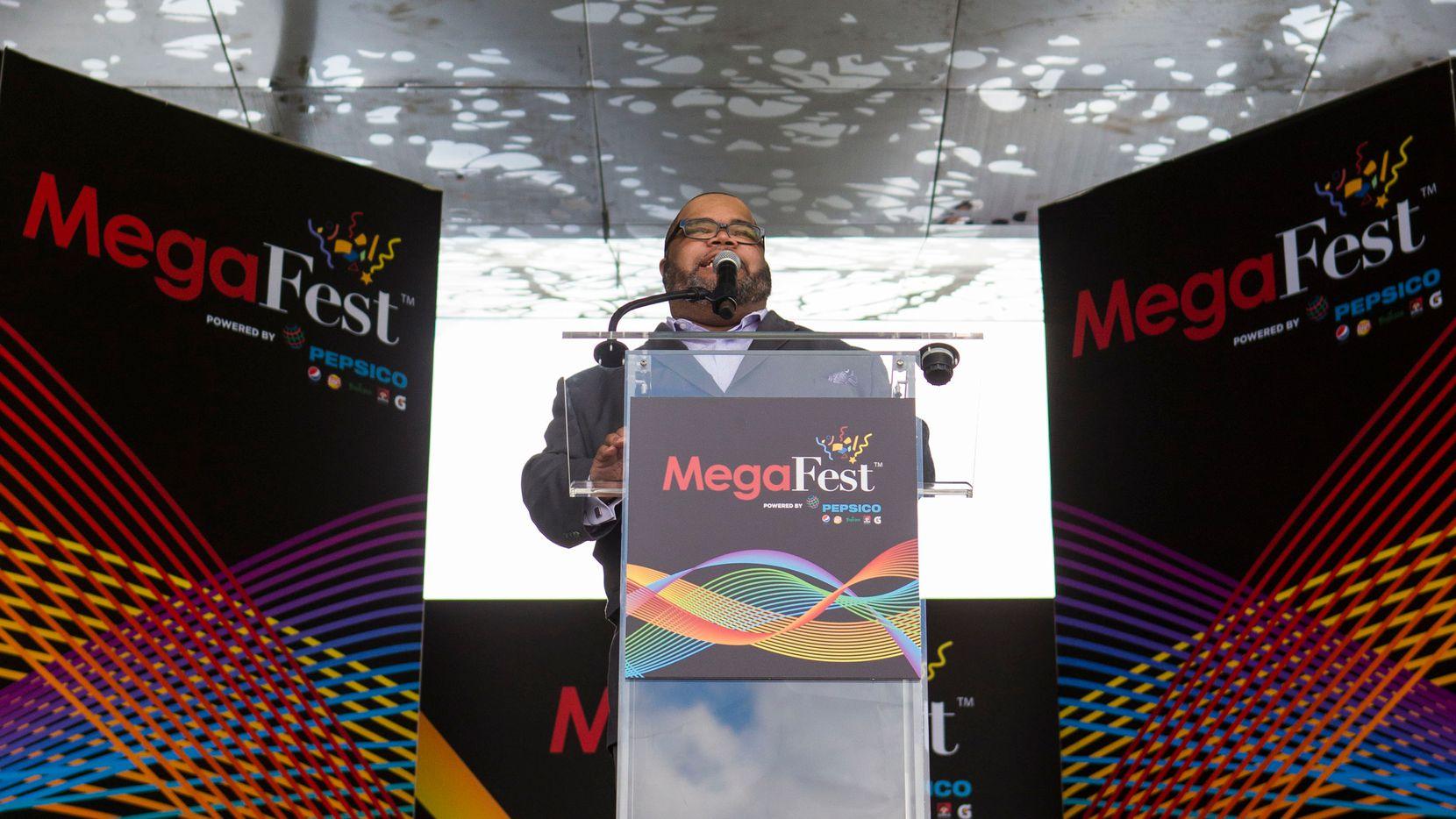 Pastor Fred Thomas speaks during the MegaFest Kickoff Celebration at Klyde Warren Park on June 28, 2017, in Dallas.