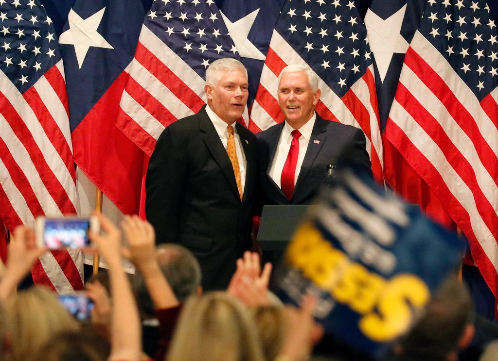 Vice President Mike Pence, right, and congressman Pete Sessions are pictured together at a rally at the Park Cities Hilton Hotel in Dallas on Monday, Oct. 8, 2018. (Louis DeLuca/The Dallas Morning News)