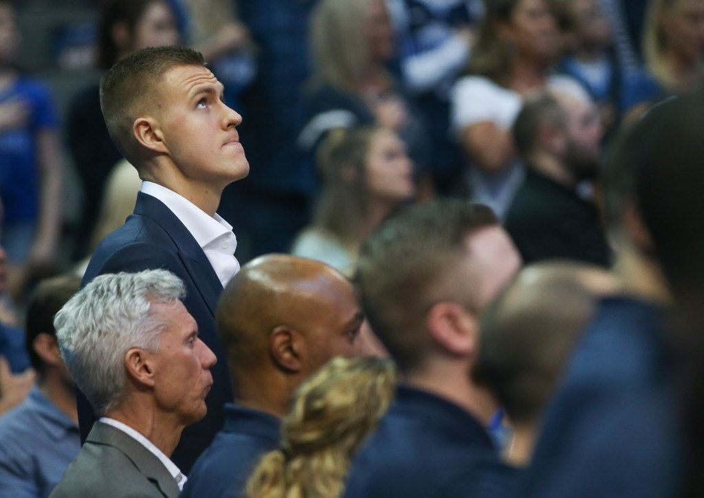 Kristaps Porzingis looks to the scoreboard prior to the start of a game between the Mavericks and Charlotte Hornets on Wednesday, Feb. 6, 2019 at American Airlines Center in Dallas. (Ryan Michalesko/The Dallas Morning News)