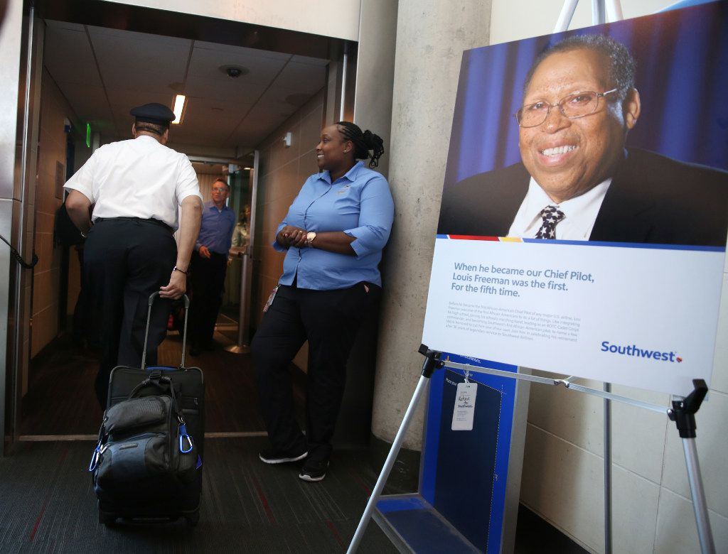 Southwest Airlines' senior pilot Lou Freeman, the first African-American chief pilot of a major U.S. airline, boards his final flight at Dallas Love Field airport on Thursday.