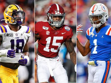 LSU pass rusher K'Lavon Chaisson (left), Alabama safety Xavier McKinney (center) and Florida cornerback CJ Henderson are just some of the options the Cowboys could be presented with in the first round of the 2020 NFL draft. (Getty Images)
