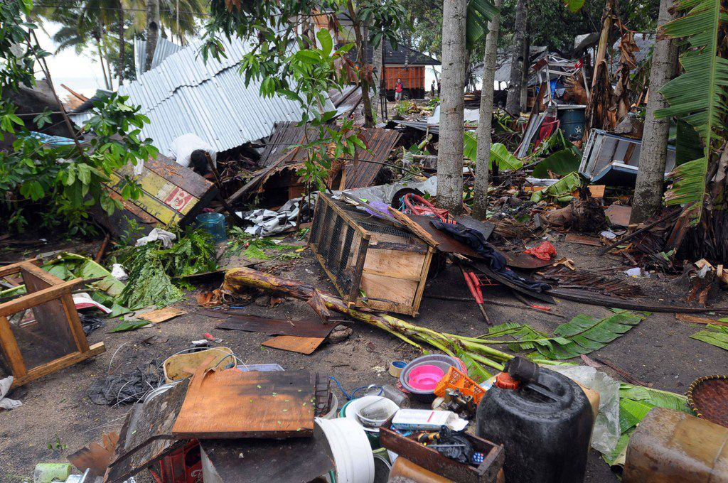 Debris from damaged buildings is seen in Anyer, Serang on December 23, 2018, after the area was hit by a tsunami on December 22 following an eruption of the Anak Krakatoa volcano. - A volcano-triggered tsunami has left at least 222 people dead and hundreds more injured after slamming without warning into beaches around Indonesia's Sunda Strait, officials said on December 23, voicing fears that the toll would rise further. (Photo by Dasril Roszandi / AFP)DASRIL ROSZANDI/AFP/Getty Images