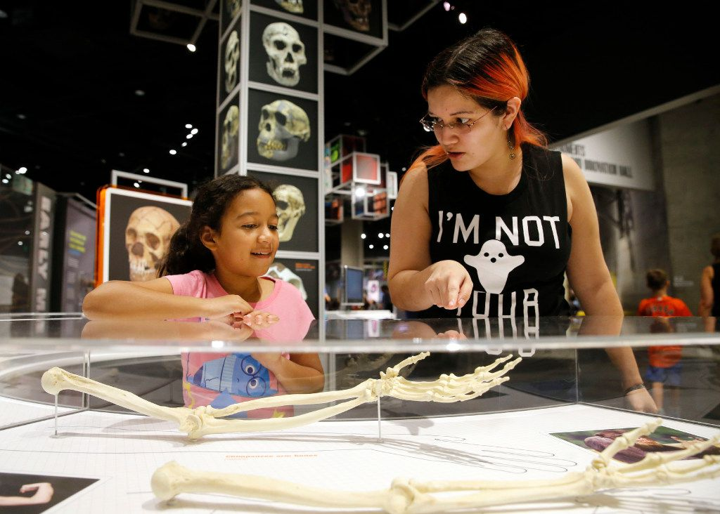 Sylvia Rodriguez, 9, and her mother Janet Rodriguez of Spring check out an exhibit at the Perot Museum of Nature and Science.