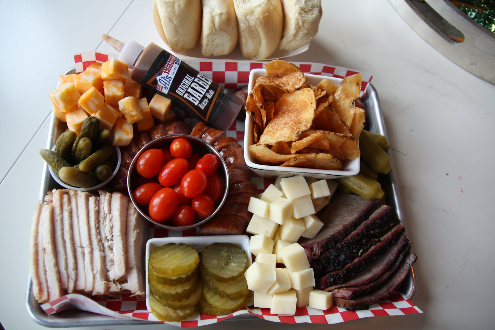 For the holidays this year, Big Al's offers a $65 barbecue charcuterie board that includes chips, pickled okra, pickles, smoked meats, cheese assortments, deviled eggs and barbecue sauce.