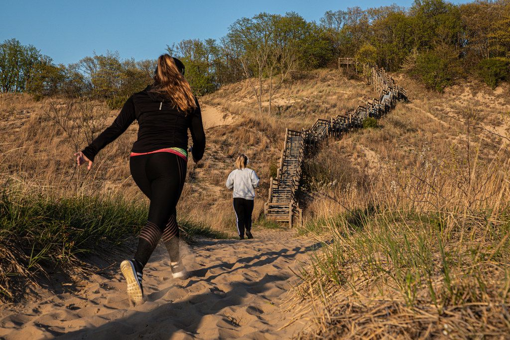 Feel the burn climbing the stairs along the national park's Dune Succession Trail. The nearly mile-long route traces the various stages of dune development.