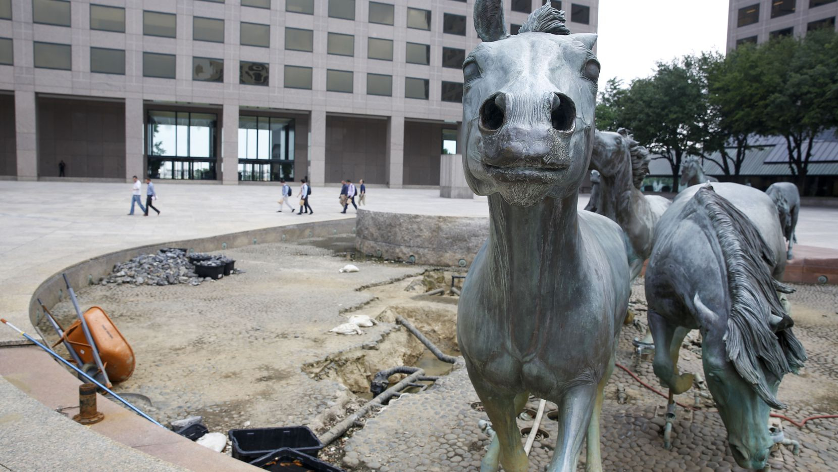 The Towers at Williams Square in Las Colinas is best known for its mustang sculpture, fountain and plaza that's a hit with tourists. The fountain and plaza surrounding the mustangs are getting a redo.