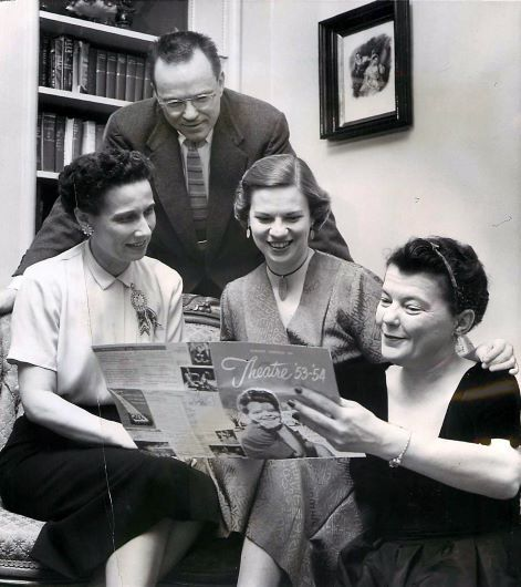 Margo Jones (right) of Theater '54 points out the play scheduled at the theater for March 23, 1954, to Mrs. Al Silver (left) and Mr. and Mrs. Arch B. Swank Jr. (Patsy Swank). Photograph published in The Dallas Morning News on Jan. 17, 1954.