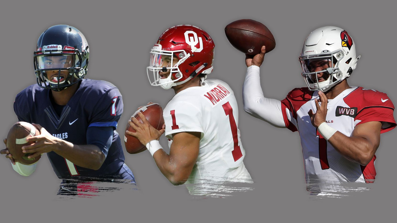 Kyler Murray with Allen High School in 2014 (far left), the Oklahoma Sooners in 2018 (middle) and the Arizona Cardinals in 2019 (far right).   Photos by Steve Hamm (special contributor to The Dallas Morning News), Wilfredo Lee (AP Photo) and Jeff Chiu (AP Photo).