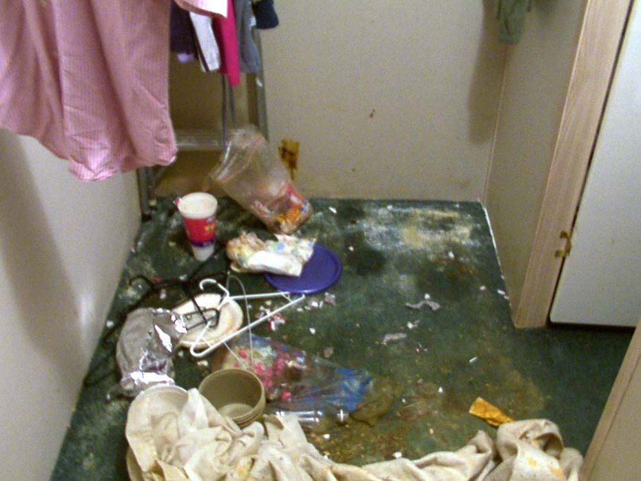 Several days after Lauren's rescue, authorities took this photo of the closet where she was held prisoner inside the Hutchins mobile home of Barbara and Kenneth Atkinson