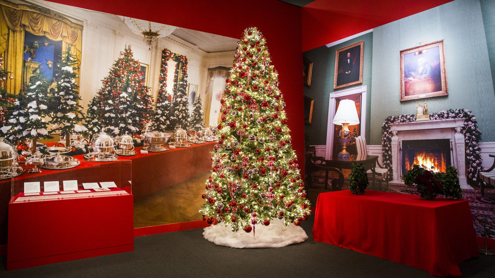 Decorations from the East Room are displayed at a Christmas exhibit at The George W. Bush Presidential Center and Library on Thursday, November 15, 2018 on the SMU campus in Dallas. This year's theme is Deck the Halls and Welcome All: Christmas at the White House 2006. (Ashley Landis/The Dallas Morning News)