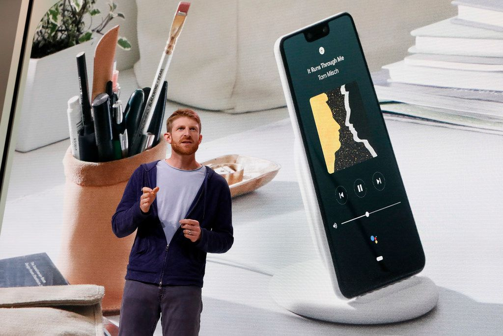 Brian Rakowski, Vice President of Product Management at Google, describes the Pixel 3 phone during a presentation in New York, Tuesday, Oct. 9, 2018. Google introduced two new smartphones in its relentless push to increase the usage of its digital services and promote its Android software that already powers most of the mobile devices in the world.