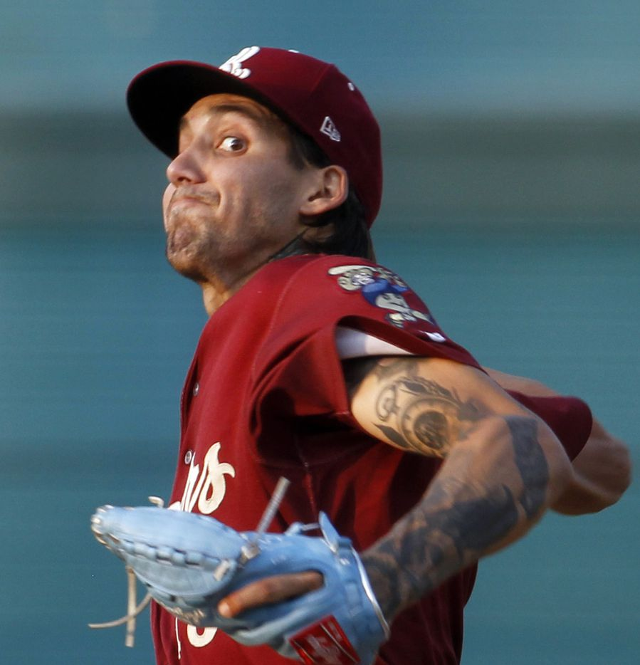 Frisco RoughRiders pitcher Hans Crouse (13) delivers a pitch to a San Antonio batter during the top of the 2nd inning of play. The two teams played their minor league baseball game at Riders Field in Frisco on June 22, 2021 (Steve Hamm/ Special Contributor)