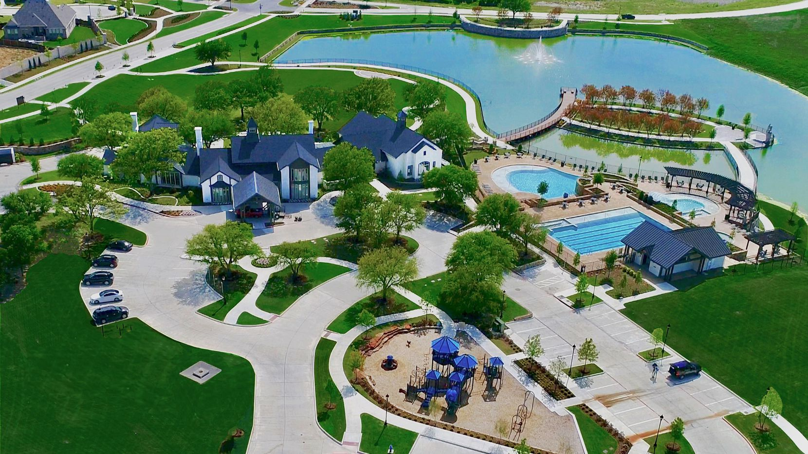 Mustang Lakes offers resort-style living with a large amenity center, pools, lakes, trails and a community lifestyle director.