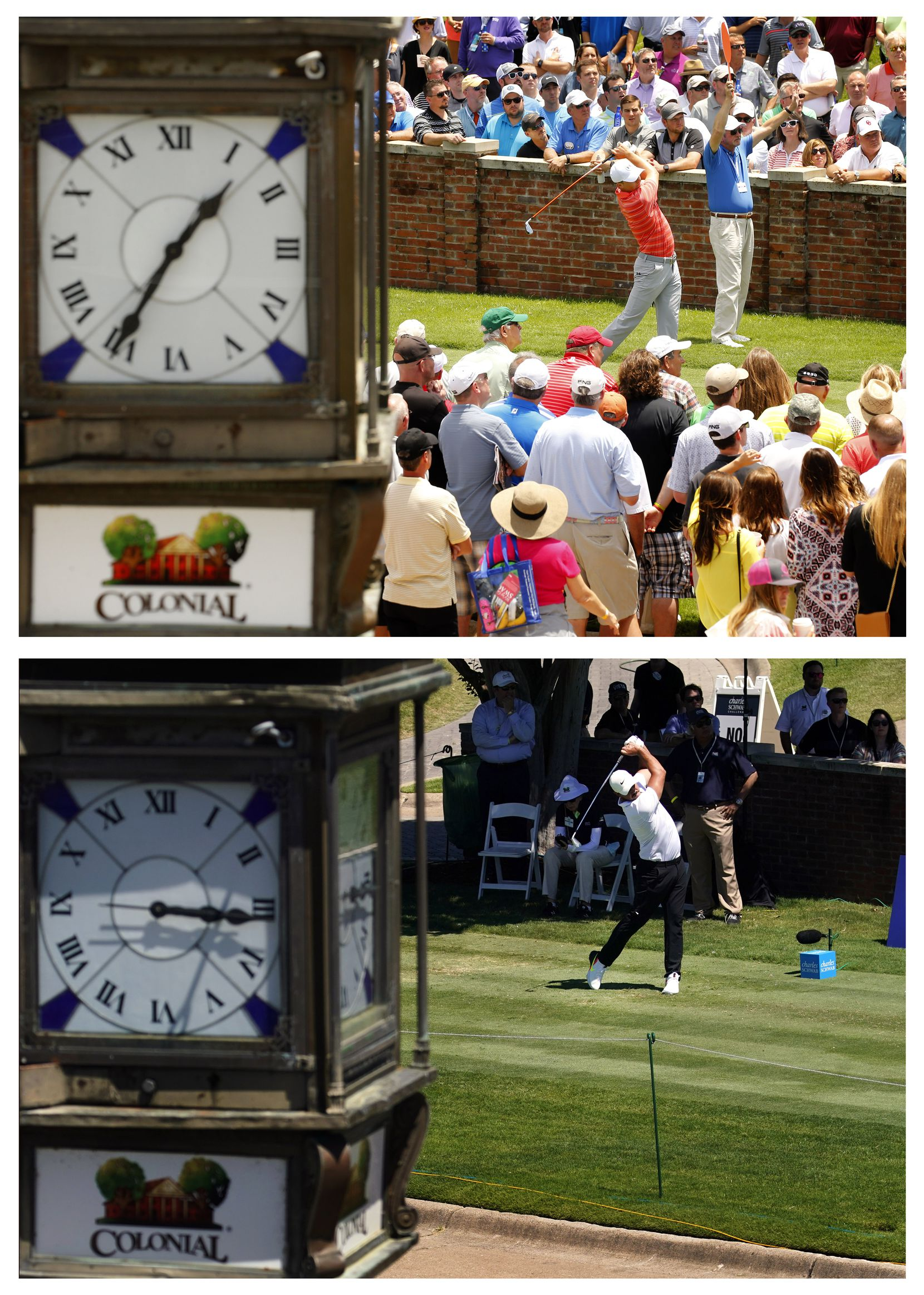 THEN - After a five and a half hour rain delay, the sun came out as golfer Jordan Spieth teed off at 1:35 pm on the 10th tee to start his second round of the Dean and Deluca Invitational at the Colonial Country Club in Fort Worth, Friday, May 27, 2016.  NOW - Without any fans in attendance, PGA Tour golfer Brooks Koepka tees off on No. 10  during the opening round of the Charles Schwab Challenge at the Colonial Country Club in Fort Worth, Thursday, June 11, 2020.