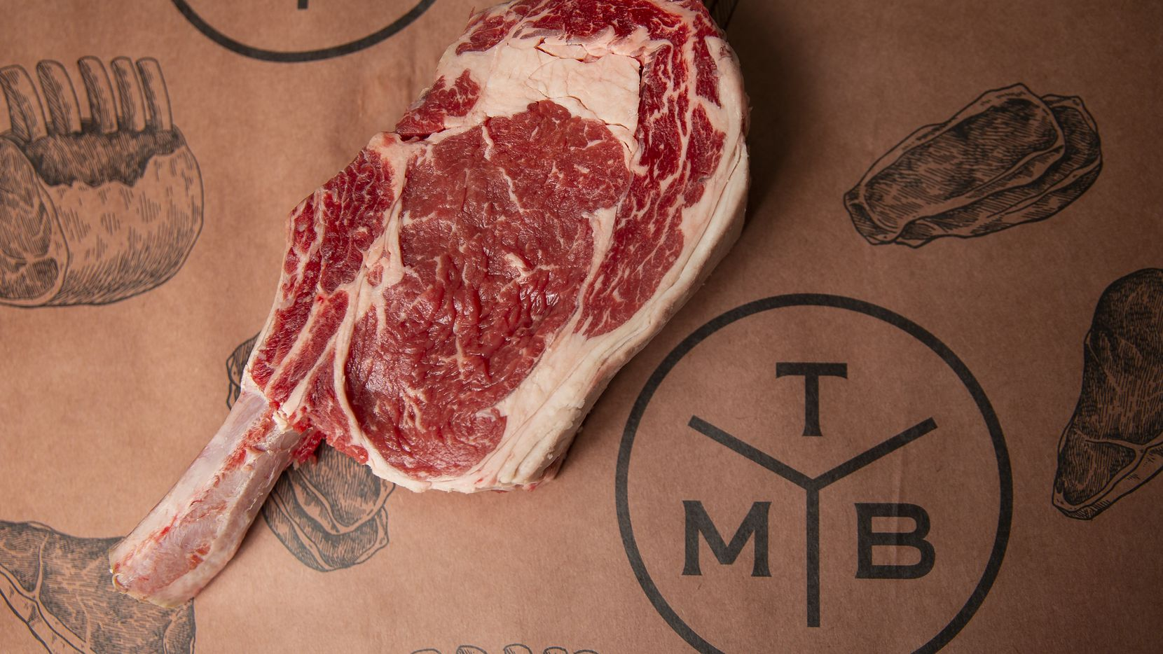 Beef ribeye cowboy steak for sale at the Meat Board