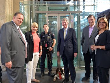 Alain Leray (left), SNCF America president, in June hosted a North Texas contingency including Fort Worth Mayor Betsy Price, DFW International Airport Board Chairman Bill Meadows, Dallas Mayor Mike Rawlings and airport board member Matrice Ellis-Kirk at SNCF Eurostar operations in Paris.