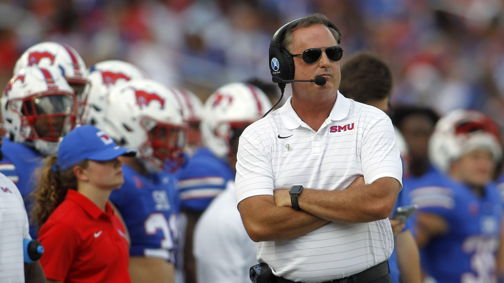 SMU head coach Sonny Dykes looks on from the team bench area during first half action against South Florida. The two teams played their NCAA football game at SMU's Ford Stadium in Dallas on October 2, 2021.