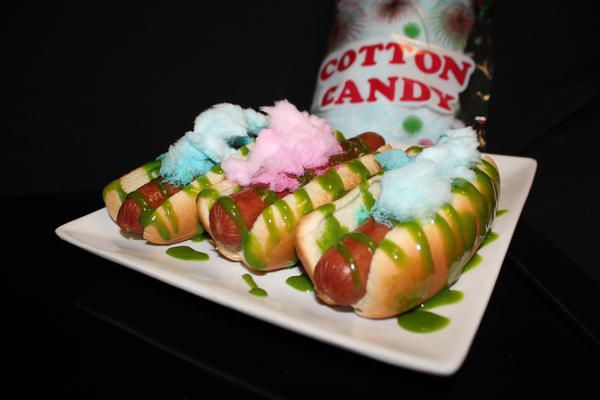 The new hot dog comes with cotton-candy mustard on top. In green.
