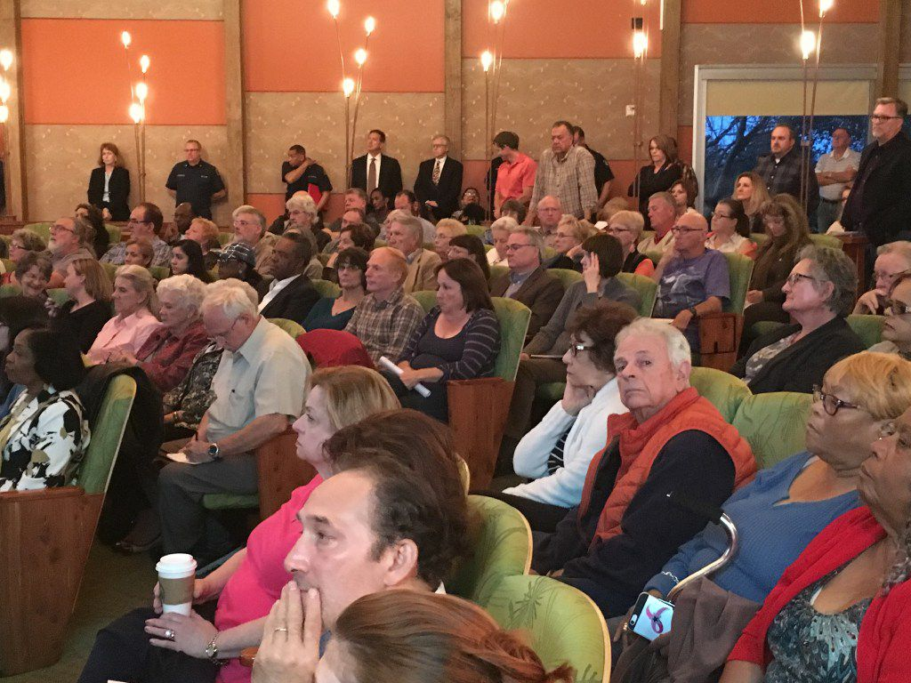 A crowd of more than 200 gathered on Jan. 24 to hear the Cedar Hill City Council discuss a proposal to bring a mixed-use development to the city that will feature 300 apartment units. Most in the crowd were opposed to the development, which the council passed on a 6-0 vote.