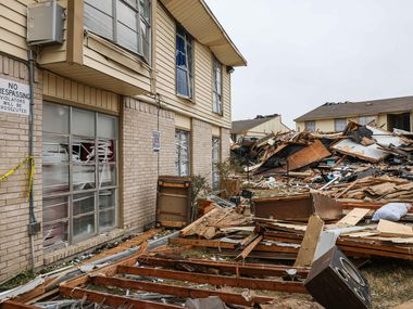 Debris and nearby damage at the apartment complex located at southeast Oak Cliff in Dallas on Thursday, September 30, 2021, after a gas explosion that left 3 firefighters critical, 5 other people injured on Wednesday morning.