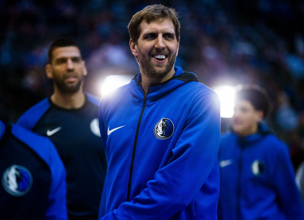 Mavericks forward Dirk Nowitzki participated in warmups before Dallas' game against Sacramento on March 26 at American Airlines Center.