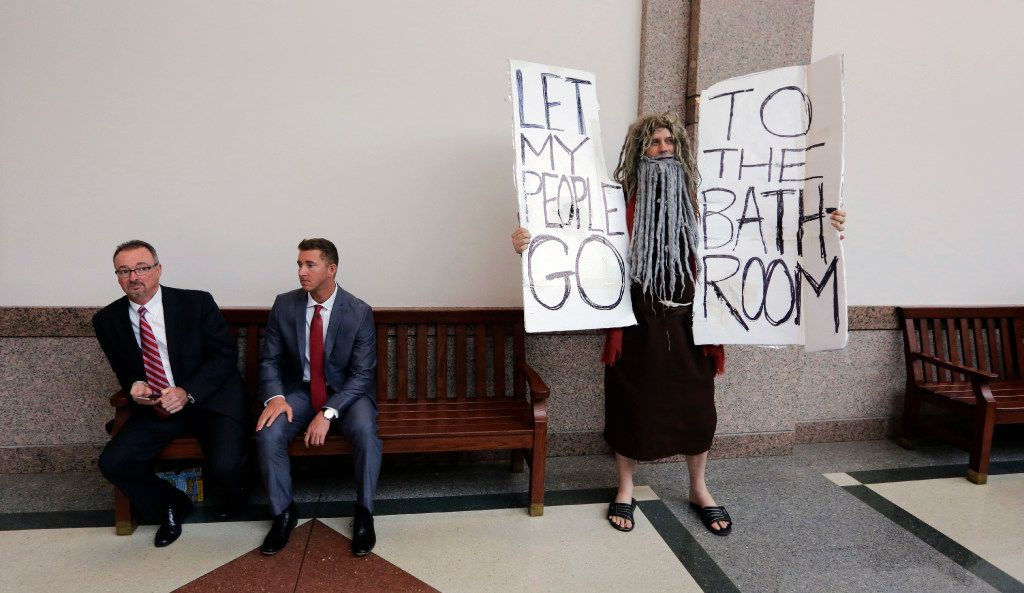 John Erler protests as the Senate State Affairs Committee begin hearings about Senate Bill 6 at the Texas Capitol, Tuesday, March 7, 2017, in Austin, Texas. (Eric Gay / Associated Press)