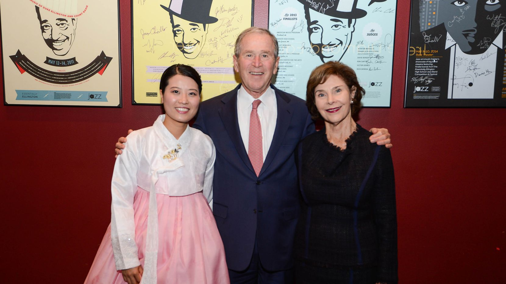 From left, Grace Jo, President  George W. Bush and Laura Bush at the GWBPC Spirit of Liberty Event in New York, NY. Grace Jo received a North Korean Freedom Scholarship in 2017 and 2018. Photo by Grant Miller