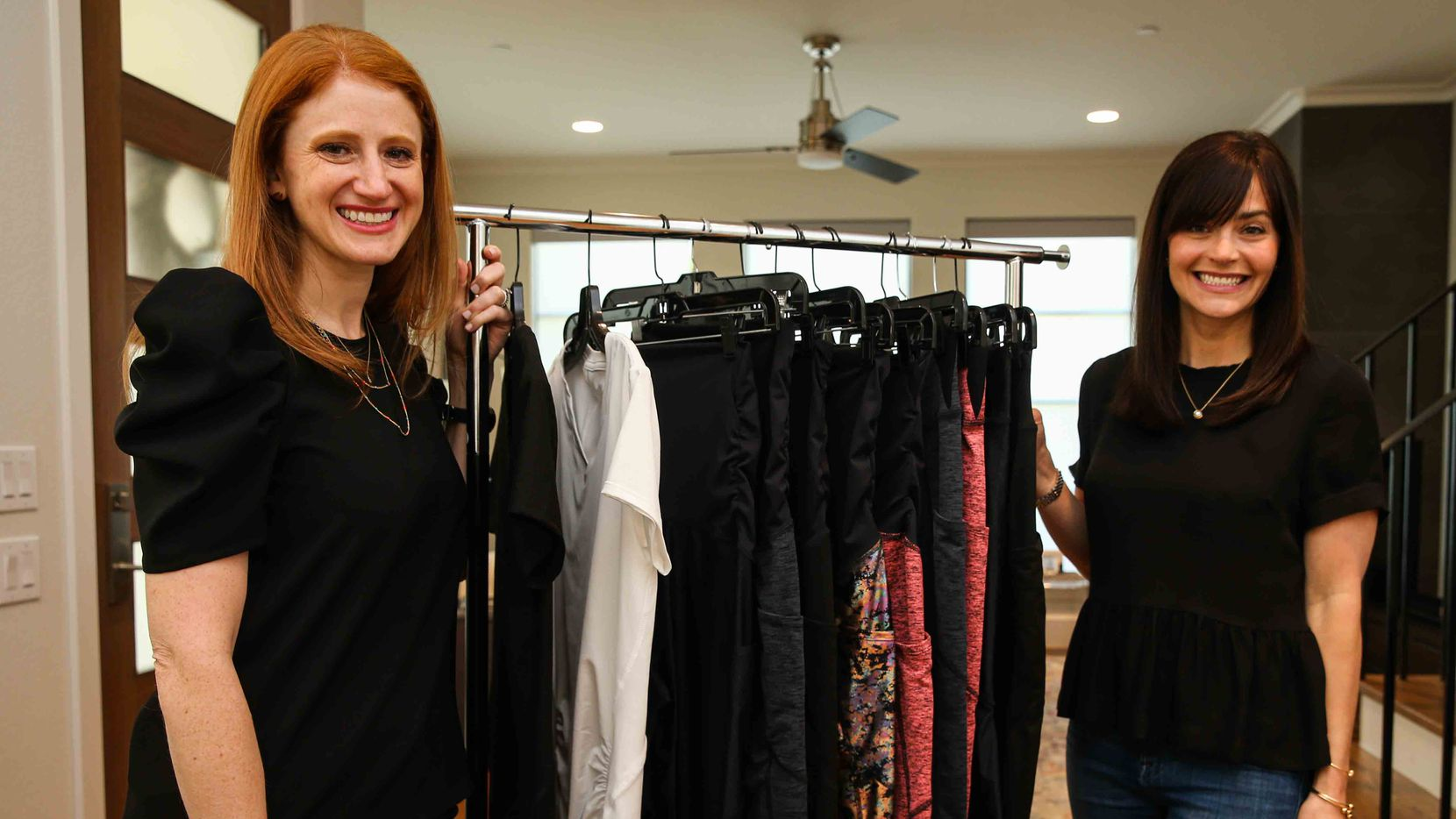Hillary Cullum (left) and Loren Heller started Berkley Clothing, a luxury maternity fitness line designed for continued wear during and shortly after pregnancy.