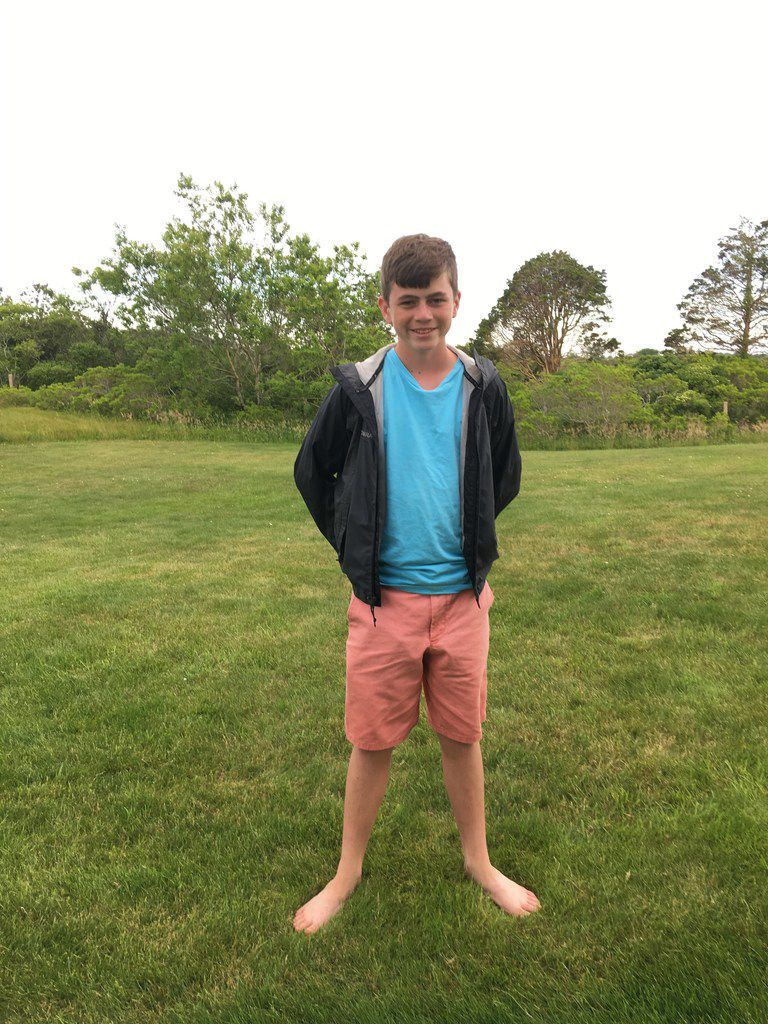 Wade Smith, a 15-year-old from Florida, sports Nantucket Reds shorts while visiting the island.