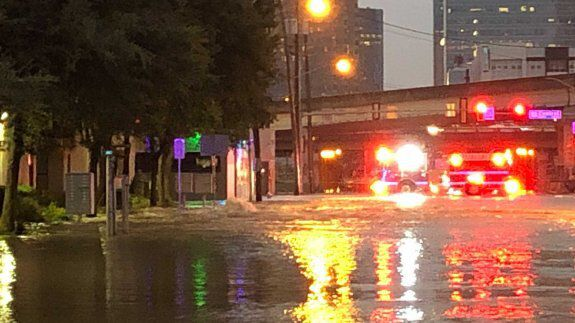 Ross Avenue near North Central Expressway looked more like a river Wednesday night.